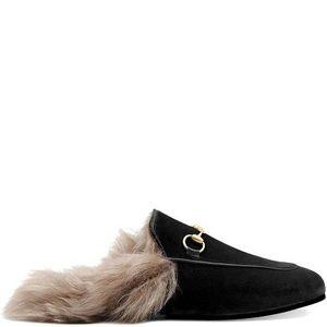 NWT Gucci Black Fur Princetowns